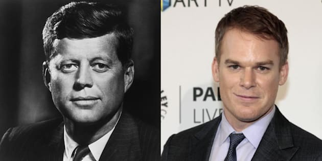 À gauche, une photo officielle de John F. Kennedy en 1960. À droite, l'acteur Michael C. Hall à Beverly Hills en 2013.