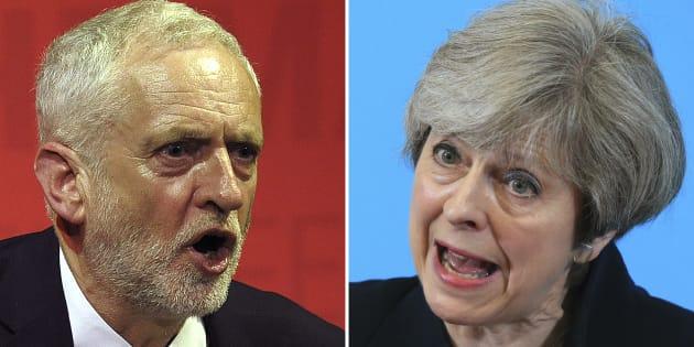 Législatives britanniques: Theresa May et Jeremy Corbyn au coude à coude, selon un sondage