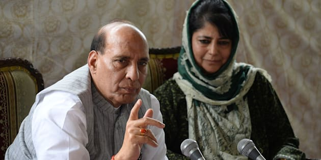 Indian home minister Rajnath Singh addresses a joint press conference with chief minister of Jammu and Kashmir Mehbooba Mufti.