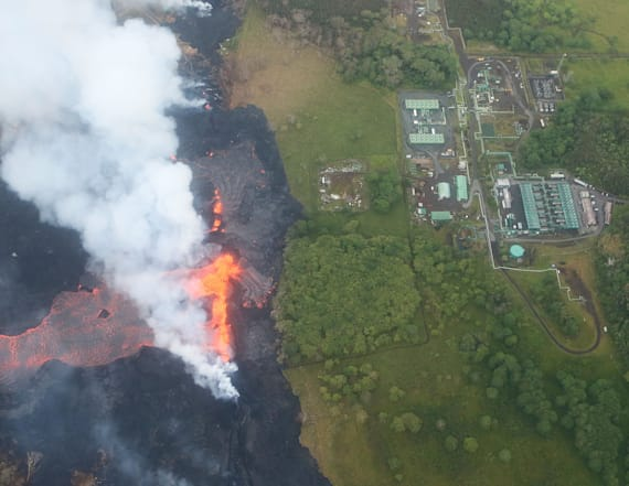 Hawaii volcano's lava flow threatens power plant