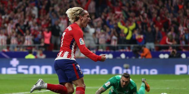 Antoine Griezmann célèbre son but contre Malaga ce 16 septembre 2017.