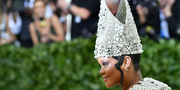 Rihanna arrives for the 2018 Met Gala on Monday at the Metropolitan Museum of Art in New York. The Gala raises money for the Metropolitan Museum of Arts Costume Institute.
