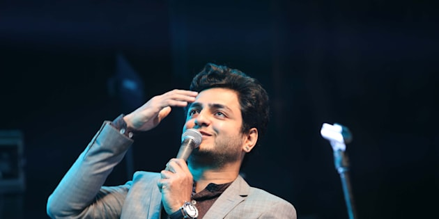 Indian stand up comedian Kenneth Sebastian performs during a Lady Shri Ram College (LSR) for Women's fest, Tarang 2017, on February 6, 2017 in New Delhi, India.