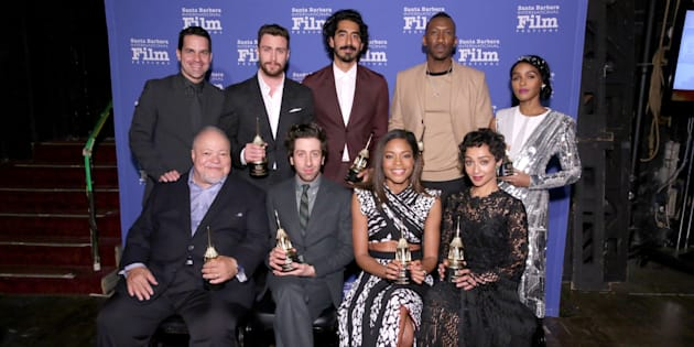 Actors Dev Patel, Mahershala Ali, Janelle Monáe, Naomie Harris and Ruth Negga -- pictured here with Aaron Taylor-Johnson, Stephen Henderson and Simon Helberg at the Santa Barbara Film Festival -- are some of the actors up for Oscars on Sunday.