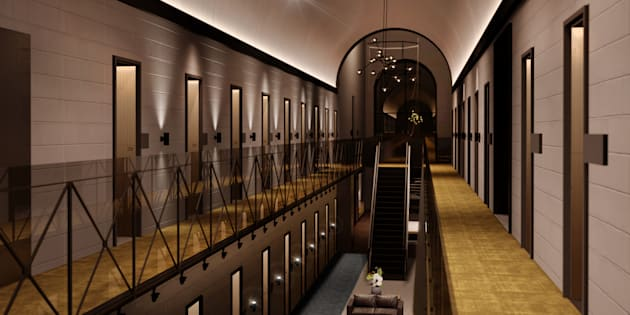 An artist's impression of rooms in the hotel with its prison pedigree showing through.