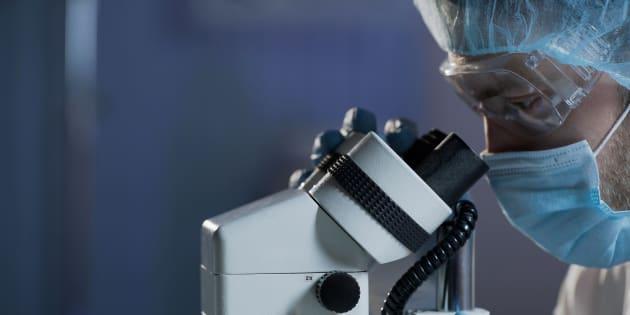 Un científico emplea un microscopio.