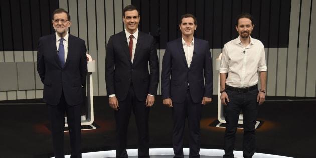 Mariano Rajoy, Pedro Sánchez, Albert Rivera y Pablo Iglesias durante un debate televisivo con motivo de las Elecciones Generales del 26 de junio de 2016.