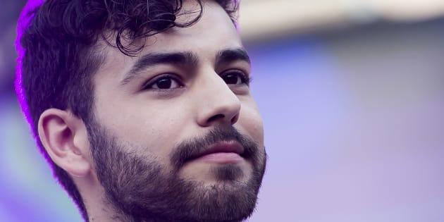 El cantante Agoney, en el pregón del Orgullo el 4 de julio de 2018 en Madrid.