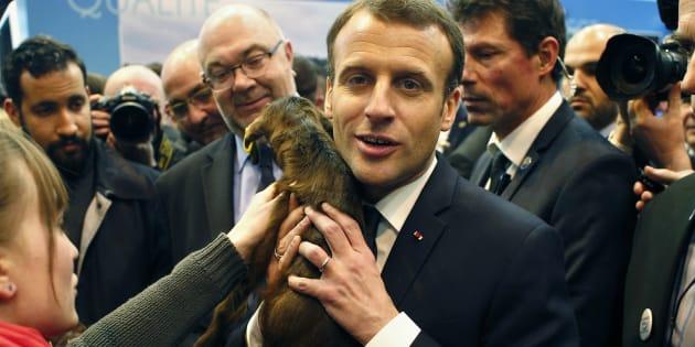 Le Président Emmanuel Macron au Salon de l'Agriculture, le 24 février 2018.