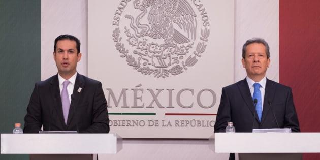 Tuffic Miguel Ortega, director general del Seguro Social y Eduardo Sánchez Hernández, vocero de Presidencia, hicieron un balance del Instituto Mexicano del Seguro Social (IMSS).