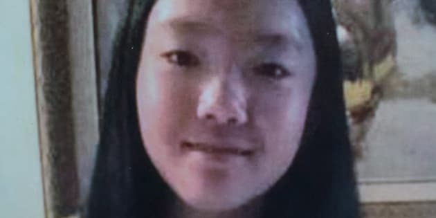 A photo of Marrisa Shen, 13, is displayed during an RCMP news conference in Burnaby, B.C., on Wednesday.