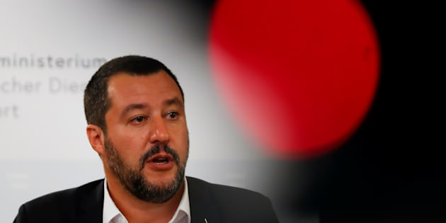 Italian Deputy Prime Minister Matteo Salvini speaks during a joint news conference with Austrian Vice Chancellor Heinz-Christian Strache in Vienna, Austria, September 14, 2018. REUTERS/Leonhard Foeger