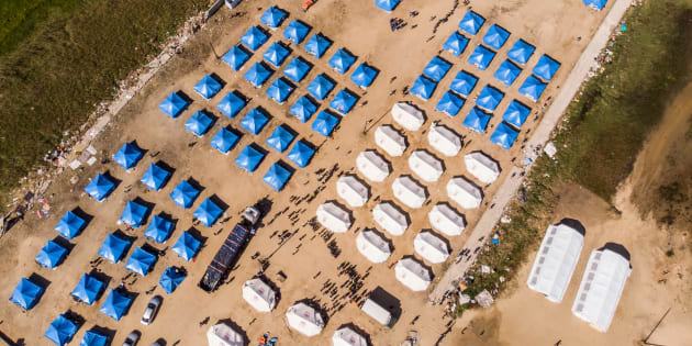 An aerial view taken in Beira, Mozambique, on April 1, 2019 shows the Picoco refugee camp where 2,000 displaced people are looking for shelter.