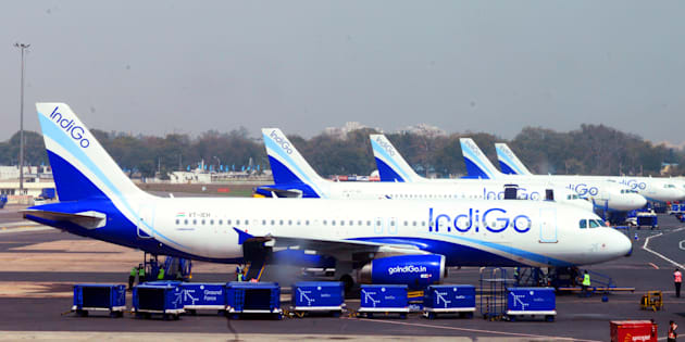 Indigo aircrafts at Indira Gandhi International Airport.
