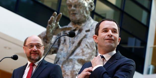 Benoit Hamon et Martin Schulz ensemble à Berlin le 28 mars.