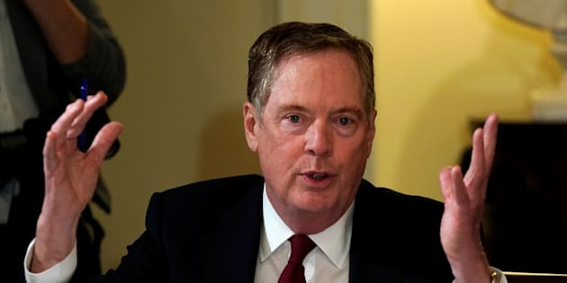 U.S. Trade Representative Robert Lighthizer speaks during a meeting hosted by U.S. President Donald Trump with governors and members of Congress at the White House, April 12, 2018.