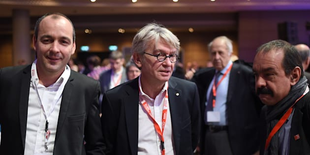 Laurent Berger (CFDT), Jean-Claude Mailly (FO) et Philippe Martinez (CGT).