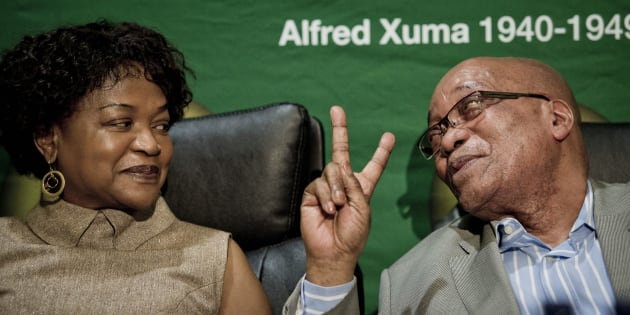 President Jacob Zuma and Baleka Mbete as the ANC's Centenary Flame returns to Luthuli House on October 1, 2012, in Johannesburg, South Africa.