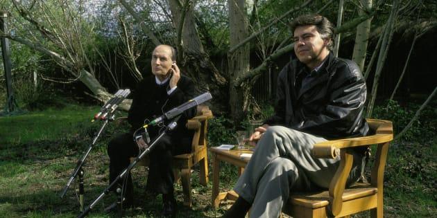 Francois Mitterrand y Felipe González, en una rueda de prensa campestre en Doñana.