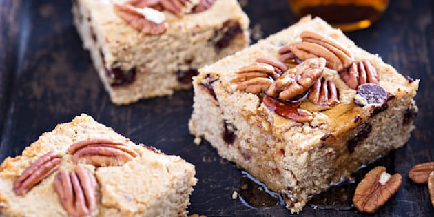 Pecan and chocolate chip blondies. YES.
