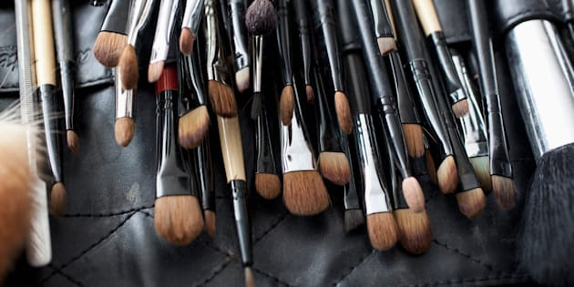 Detail of a professional make-up brush set