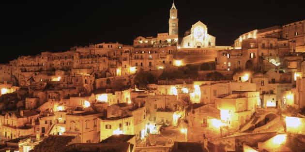 Old town of Sassi di Matera, consisting partly of cave dwellings, at night, Matera, Basilicata, Italy
