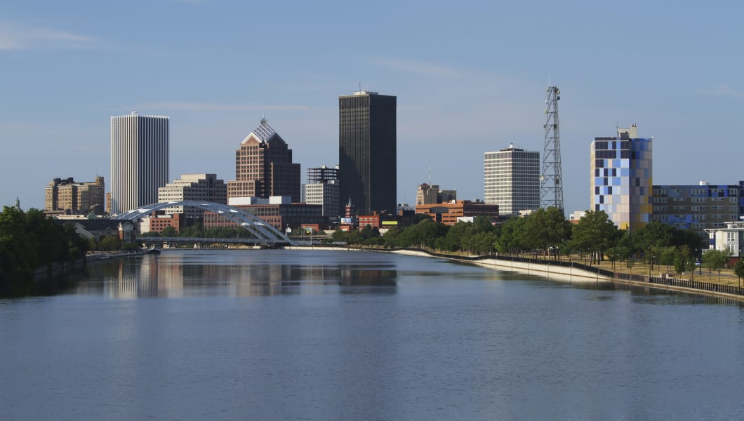 Rochester Cityscape. Genesee River in foreground. Rochester, New York, USA.