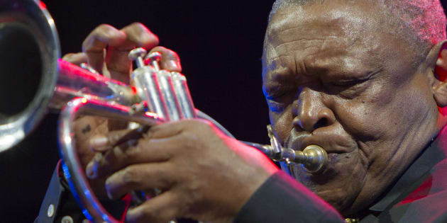 South African jazz trumpeter Hugh Masekela in concert at Torino Jazz Festival in 2015.