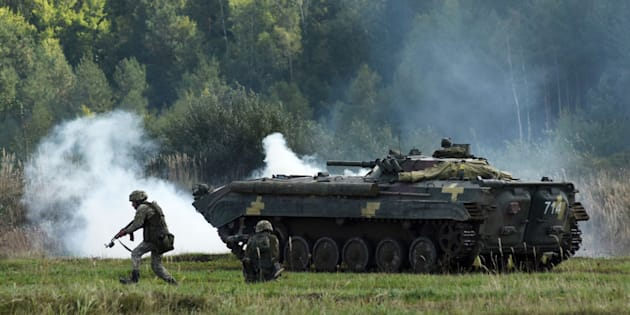 Des soldats ukrainiens prennent part à un exercice militaire international en septembre 2017.