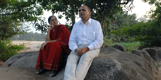 GN Devy with wife Surekha Devy.
