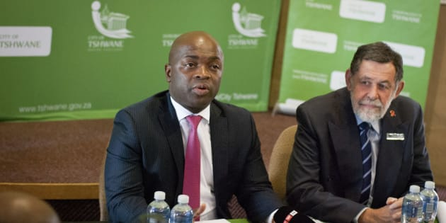 City of Tshwane Mayor Solly Msimanga and Mayoral Committee member for Infrastructure Darryl Moss during a media briefing at the Rietvlei Nature Reserve on November 15, 2016 in Centurion, South Africa.