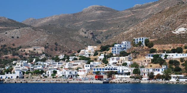 Tilos, Greece - June 12, 2010: The harbour at Livadia on the Greek island of Tilos. The Dodecanese island is home to many protected bird species.