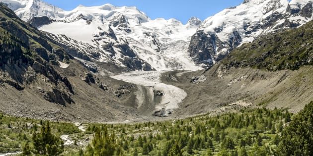 SWITZERLAND - 2011/06/27: View at the Morteratsch Glacier, Engadine, Switzerland | Aussicht auf den Morteratsch Gletscher, Engadin, Schweiz. (Photo by Olaf Protze/LightRocket via Getty Images)