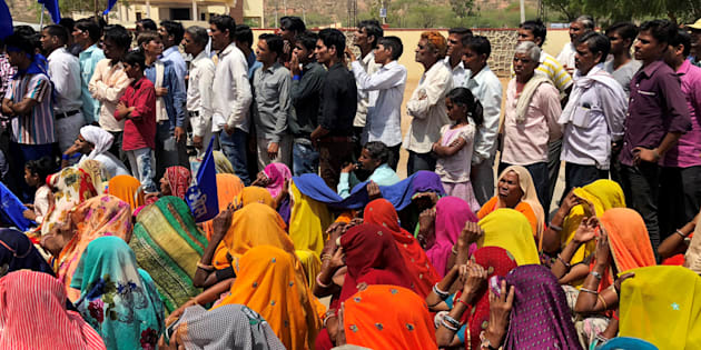 People belonging to the Dalit community take part in a nationwide strike called by several Dalit organisations, in Kasba Bonli, Rajasthan.