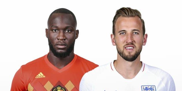 (左から)ベルギーのルカク選手、イングランドのケイン選手 (Photo by FIFA/FIFA via Getty Images)