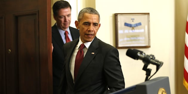 FILE - In this Nov, 25, 2015 fikle photo, President Barack Obama, followed by FBI Director James Comey, arrives in the Roosevelt Room of the White House in Washington for a briefing. Comey, who prides himself on moral rectitude and a squeaky-clean reputation is being criticized from all sides for lobbing a stink bomb into the center of the presidential race. Former Justice Department officials and former prosecutors from both parties have called the revelation an improper, astonishing and perplexing intrusion into politics in the critical endgame of the 2016 campaign. (AP Photo/Pablo Martinez Monsivais, File)