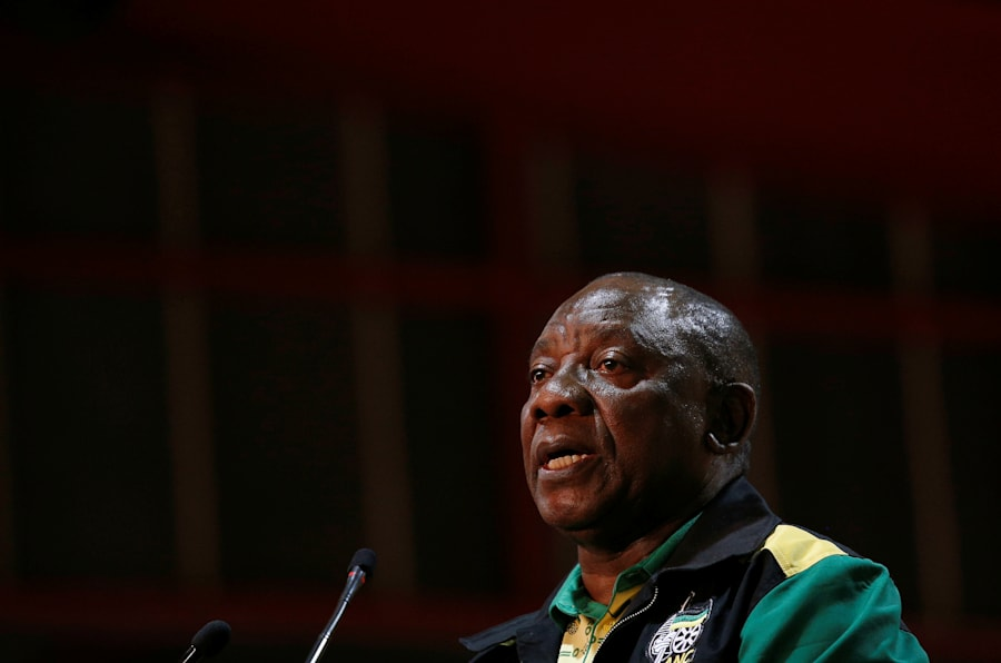 Newly elected president of the ANC Cyril Ramaphosa makes the closing address at the 54th national conference of South Africa's governing party in Johannesburg, South Africa. December 21, 2017. REUTERS/Rogan Ward
