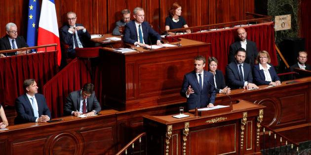 Le président Emmanuel Macron pendant son discours devant le COngrès réuni à Versailles en juillet 2017.