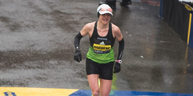 Krista DuChene of Canada crosses the finish line in third place for the 2018 and 122nd Boston Marathon for Elite Women's race with a time of 2:44:20 on April 16, 2018 in Boston, Mass.