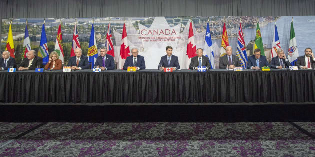 Canadian premiers and the prime minister speak to the media at the First Ministers closing news conference on Dec. 7, 2018 in Montreal.