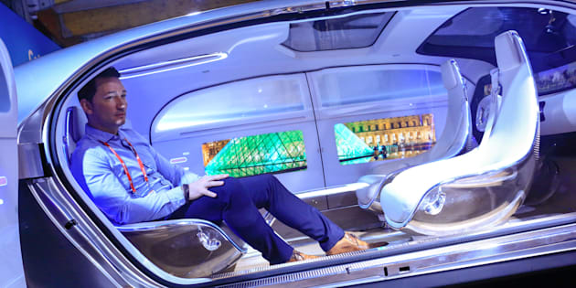 February 24, 2016: Inside the Mercedes-Benz AG F 015 concept car at the Mobile World Congress in Barcelona, Spain.