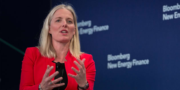 Environment Minister Catherine McKenna speaks on a panel during the BNEF Future of Energy Summit in New York on April 9, 2018.