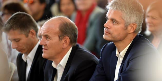 Laurent Wauquiez au côté de son rival Daniel Fasquelle dans la course à la présidence du parti Les Républicains.