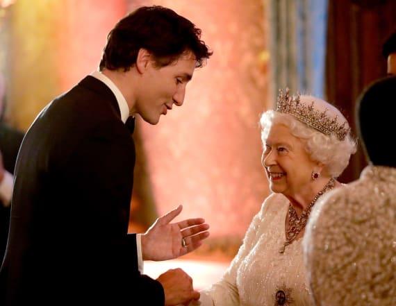 Queen Elizabeth blushes greeting Justin Trudeau