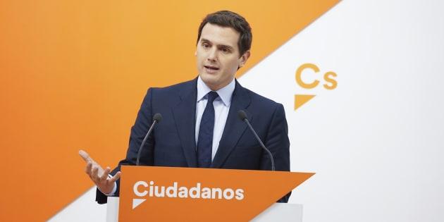 Albert Rivera, líder de Ciudadanos, en una rueda de prensa de Madrid.
