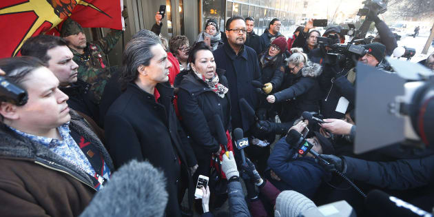 From left, Grand Chief Jerry Daniels, Southern Chiefs' Organization, Chief Arlen Dumas, Chief Sheila North, and Chief Kevin Hart speak to media outside the law courts in Winnipeg after the jury delivered a not-guilty verdict in the second degree murder trial of Raymond Cormier, Thursday.