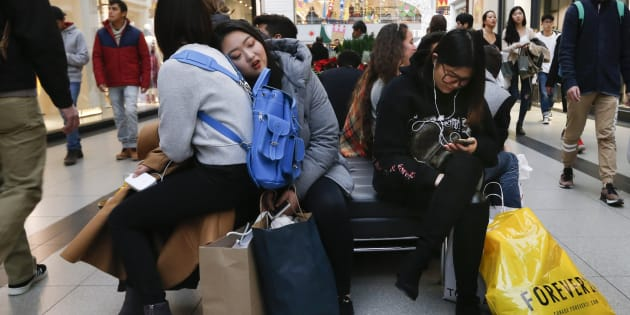 Black Friday shoppers at Toronto's Eaton Centre, Nov. 24, 2017. Canadians are increasingly choosing to shop patriotically amid tense trade relations between Canada and the U.S., a survey from Accenture shows.