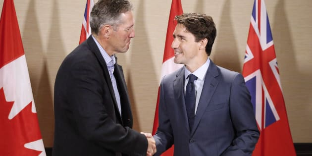 Prime Minister Justin Trudeau meets with Manitoba Premier Brian Pallister in Winnipeg on July 29, 2017.