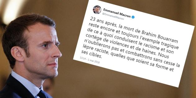 """1er mai 2018: Macron salue la mémoire de Brahim Bouarram et dénonce la """"lèpre raciste"""""""