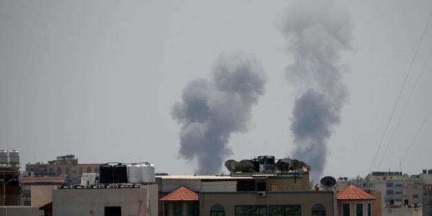 Smoke rises following an Israeli air strike in Gaza May 29, 2018.